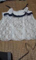 ワコール 透け刺繍ネイビーリボン付 ホワイト キャミソール L