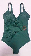 インポート新品ラインストーンバックルベルト&プリーツドレープ肩紐ワンピース水着緑