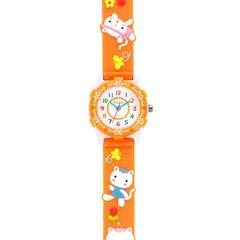 子供用 キッズ腕時計 デコウォッチ キッズウォッチ オレンジ ネコ