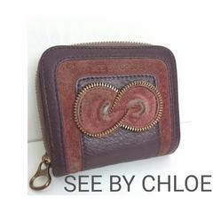 正規 SEE BY CHLOE クロエ コンパクト 2つ折り財布 パープル 紫