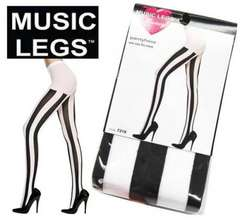 20A)MusicLegsストライプタイツ白黒B系ダンサーダンス衣装コスプレストッキングピエロ