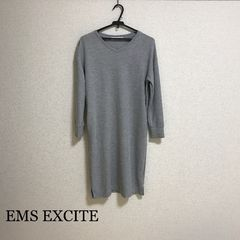 EMS EXCITE Vネックミディ丈ニットワンピース