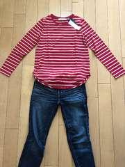 新品!AZUL赤ロングティシャツ。