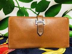 良品エルメスベアン二つ折長財布ブラウンレザーD刻印
