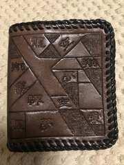 ハンドメイド☆本牛革☆二つ折り財布(漢字柄)