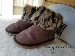 モバオクで買える「◆19.0cm豹柄リボンボアムートンブーツ◆」の画像です。価格は1円になります。