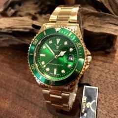 最安値!ロレックス・サブマリーナタイプ◇クォーツ メタル腕時計・グリーン×ゴールド