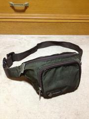 オロビアンコ 革レザー×ナイロン ショルダーボディバッグ カーキ緑+茶 イタリア製 ウエスト鞄