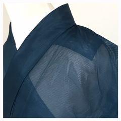 洗える 夏の色無地 化繊 Lサイズ (紺)