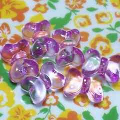 【未使用】アクリルビーズ・りぼん・薄紫・6個set