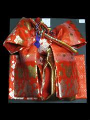 【和の志】七五三☆七歳用段織結び帯★赤梅