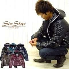 【SIX-STAR】高級感シレ♪カラーフルHiダブルジップタイト中綿ダウンジャケット