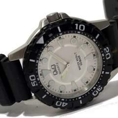 美品 1スタ★Q&Q 10BAR防水 ダイバー メンズ腕時計