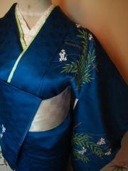 艶ブルー白華雀*付下正絹袷152チョー美品レタP