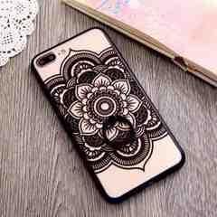 新品 iPhone7 iPhone8用 大きなお花のケース ブラック�H