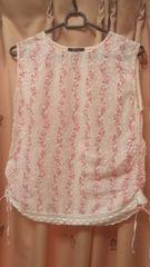 ナチュラルガーリー花柄&カギ編みノースリーブコットンシャツ