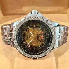 ブライトリング好きな方に♪JARAGAR★スケルトン自動巻き腕時計・ブラック