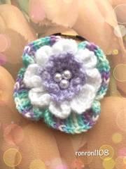 ハンドメイド♪毛糸編み アネモネ風お花のヘアゴム 4