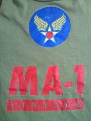 ALPHA アルファ MA-1 ロゴ 飛行機 プリント Tシャツ ブラウン Mサイズ アメリカ