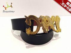D&G(ディーアンドジー) ベルト80 黒×ゴールド レザー×金属素材