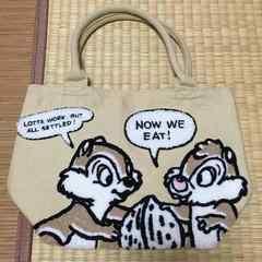 ディズニー・チップ&デール柄サガラ刺繍トートバッグ。