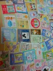 ♪切手風カットシール50枚まとめ売り(F)♪雑貨コラージュ・ラッピングなどに♪