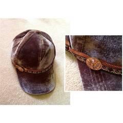 スワロフスキー付◆エスニック ボタン◆ベロア キャップ 帽子