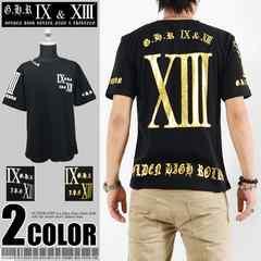 メール便送料無料【G.H.R NINE&THIRTEEN】70726Tシャツ黒金XL