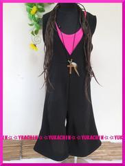 春夏新作◆大きいサイズ3Lブラック◆ストレッチ大人気オールインワン