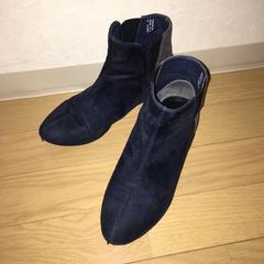 ショートブーツ  スェード 紺色 グレーラメ ツートンカラー 23cm
