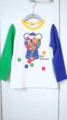 ホットビスケッツ ミキハウス サイズ110 長袖Tシャツ バックプリント有 白×緑×青