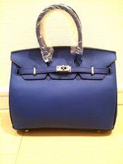 25ネイビー紺色ハンドバッグ新品シルバー金具鍵鞄