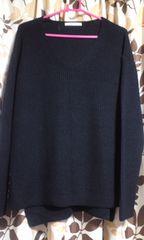 ■Vネックセーター■ネイビー/M-Lサイズ■新品タグ無■