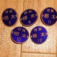 昭和レトロ、旧式狩猟 栃木 バッジ5個セットです。