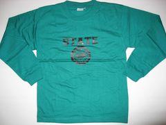 カレッジプリント長袖Tシャツ STATE グリーン S 新品
