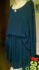 未使用美品 袖ぷくシフォン オシャレな造りの細プリーツスカート ワンピ