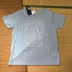 大きいサイズ4L・ブルー猫キャラクタープリントTシャツ。