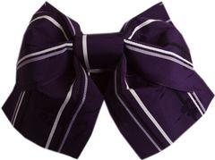 簡単浴衣ゆかた柄結び帯付け帯作り帯濃紫色地撫子ライン 日本製