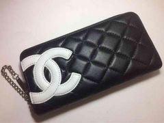 CHANEL カンボンライン 黒×白 長財布 ラウンドファスナー