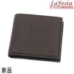 ◆新品本物◆グッチ【シンプル】2つ折り財布(レザー:濃茶/箱