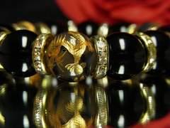 大特価!!金彫皇帝龍Xブラックオニキス14ミリ数珠