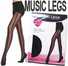 0a6)MUSICLEGSシアークロッシェストッキング黒タイツセレブ衣装ダンスパーティー発表会