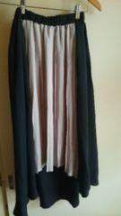 春物美品cutieBlondeバイカラー裾変形プリーツシフォンスカート