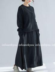 LL3L大きいサイズ/ゆるニット+ロングスカート上下2点セット/黒