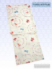 【和の志】女性用浴衣◇クリーム系・金魚・水玉柄◇KWF652-17