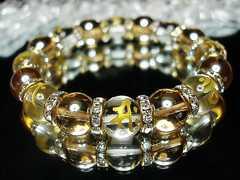梵字金彫り水晶ブレスレット十二支御守り本尊天然石12mm数珠