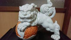 江戸期…古平戸焼白磁駒獅子…置物