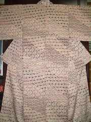 切替幾何学文様ロウケツ染 袷のお着物