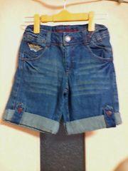 古着:tender heart:サイズ140:ブルーデニム刺繍柄、3分丈ズボン