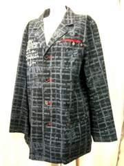 【SLASH NUMBER】【男性用】黒/グレーのプリントデニムジャケット